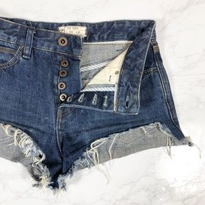 Free People Step Hem Distressed Button Fly Shorts